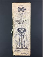 Sale 8539M - Lot 107 - A Wonder Night, programme for the Australian Society of Magicians, Repertory Theatre show. Dec 20, 1913. With cord binding, good c...