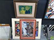 Sale 8552 - Lot 2051 - 3 Framed Works: A.Potter Fire-Light Pastel SLR, H.Connolly Abstract SLR with Another