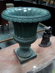Sale 8576 - Lot 1063 - Campagna Form Green Painted Cast Iron Garden Urn, with fluted body having draining holes & on round foot