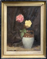 Sale 8682 - Lot 2081 - V Hogarth - Still Life, oil on board, 45 x 37cm, signed lower right