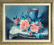 Sale 8774A - Lot 89 - Joan Campbell, after Vernon Ward, still life with blue vase and roses, oil on board, total frame size 51 x 62