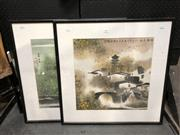 Sale 8779 - Lot 2045 - Pair of Chinese Watercolours - each village scenes