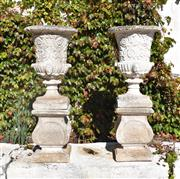 Sale 8972H - Lot 62 - Fine pair of aged composition stone urns and plinths 1m Height 40cm Diameter