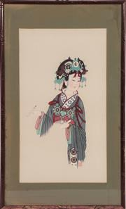 Sale 9045 - Lot 2092 - A Framed Chinese Print Of A Lady In Traditional Garb (68cm x 41cm)