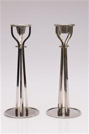 Sale 9052 - Lot 8 - Alessi Silver Plated Pair of Candlesticks (H: 25cm) by Paolo Portoghesi