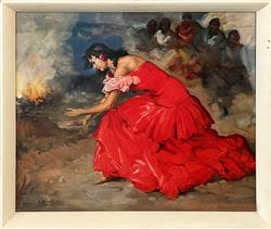 Sale 9092 - Lot 1084A - 1960s Print The Fire Dancer by Francisco R S Clemente, 56 x 66cm (frame)