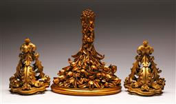 Sale 9128 - Lot 6 - Composite gilt wall mount shelf (L:38cm W:31cm) together with a pair of small examples (L:21cm W:17cm) - minor losses