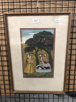 Sale 9147 - Lot 2046 - An Indo-Persian scene in gouache depicting a couple drawing water from a well, frame: 36 x 26 cm