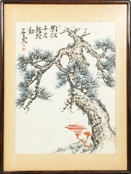 Sale 9168 - Lot 489 - Framed Chinese work featuring A tree (53cm x 40cm)