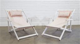Sale 9174 - Lot 1412 - Pair of white painted deck chairs (h80 x w107 x d65cm)