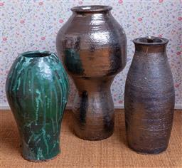 Sale 9191W - Lot 699 - Set of three studio potted vases (Height of tallest 55cm, height of smallest 41cm)