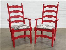 Sale 9188 - Lot 1596 - Pair of painted timber armchairs (h97 x w62 x d58cm)