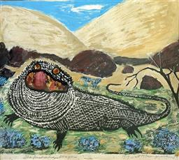 Sale 9214A - Lot 5022 - HARRY ROSENGRAVE (1899 - 1986) The Australian Dragon, 1978 linocut and mixed media ed. 8/17 47 x 52 cm signed and dated lower right