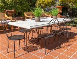 Sale 9248H - Lot 288 - A Large outdoor dining table with hand forged wrought iron base and GRC top length 235 x height 77 x width 100