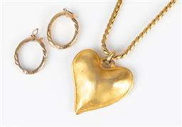 Sale 9250F - Lot 88 - A gilt heart pendant and link chain necklace, total drop 43cm, together with two gilt scarf rings.