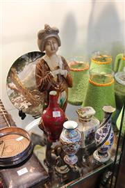 Sale 8116 - Lot 78 - Chinese Pottery Lady Figure, Cloisonne Vases with Ceramics incl Limoges