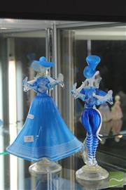 Sale 8256 - Lot 29 - Murano Art Glass Pair of Blue Figures (AF)