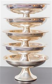 Sale 8279A - Lot 17 - A set of five silver plate footed serving bowls, diameter 24cm