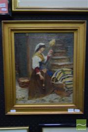 Sale 8497 - Lot 2006 - After Maria Marinetti (1864 - 1921) - Spinning Flax 36 x 30cm