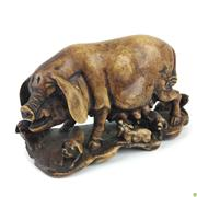 Sale 8562R - Lot 38 - Soapstone Group of Sow and Piglets (W: 21cm)