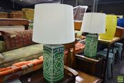 Sale 8566 - Lot 1535 - Pair of Green and White Ceramic Table Lamps