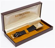 Sale 8590A - Lot 49 - A Longines wristwatch, Width of Dial 25mm, on black band, 761, Suisse 6230