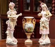 Sale 8804A - Lot 87 - A pair of Edwardian German bisque figures of a gent and lady, both damaged together with a Paris porcelain vase, tallest 40cm