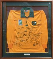 Sale 8863S - Lot 20 - 1995 World Cup Wallabies Signed Jersey, in frame