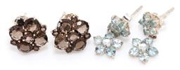 Sale 9182 - Lot 333 - TWO PAIRS OF SLIVER GEMSET FLORAL CLUSTER STUD EARRINGS; double clusters of round cut and cabochon light blue topaz, length 16mm, ot...