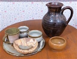 Sale 9191W - Lot 700 - A small collection of studio pottery including jug and small bowls