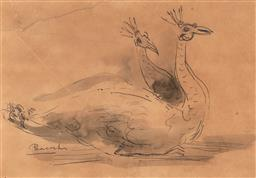 Sale 9244 - Lot 581 - FRANCIS LYMBURNER (1916 - 1972) Peacocks pen and wash on paper 18 x 26 cm (frame: 36 x 43 x 2 cm) unsigned