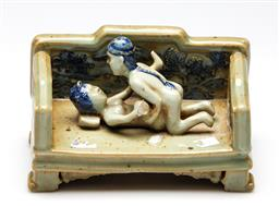 Sale 9253 - Lot 358 - An erotic themed Chinese display piece - missing leg (W:17cm)