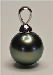 Sale 8036A - Lot 321 - A TAHITIAN PEARL PENDANT; set in 9ct with gold with a 10.3mm round cultured pearl of fine colour and lustre.