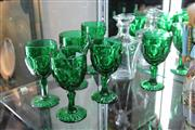 Sale 8116 - Lot 59 - Baccarat Decanter with Green Molded Wine Goblets