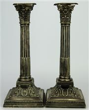 Sale 8139 - Lot 25 - English Hallmarked Sterling Silver Victorian Pair of Candlesticks