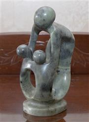Sale 8375A - Lot 54 - An Africa green stone carved figural group of a mother and child, signed O Musiyiwa, H 19cm