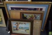 Sale 8497 - Lot 2031 - Group of Assorted Artworks including Original Watercolours, Decorative Prints, and a Needlepoint (various/framed)