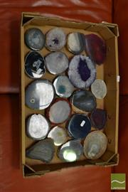 Sale 8507 - Lot 1084 - Box of Mixed Geode Polished Slices