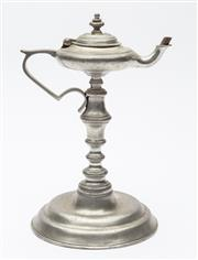 Sale 8599A - Lot 84 - A vintage Italian pewter oil lamp on stand, H 23cm