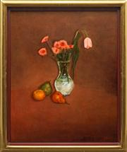 Sale 8665A - Lot 5054 - Geoffrey Proud (1946 - ) - Tulips and Still Life 92 x 73.5cm
