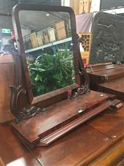 Sale 8693 - Lot 1091 - William IV Mahogany Toilet Mirror, with slightly arched mirror, carved supports & slightly stepped base
