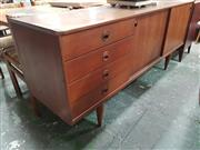 Sale 8872 - Lot 1057 - Summertone Four Drawer Two Door Teak Sideboard with Crescent Moon Handles