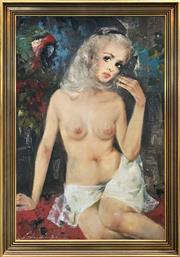 Sale 8958 - Lot 2042 - Artist Unknown Polly and her Parrot oil on canvas, 102 x 71cm (frame), signed
