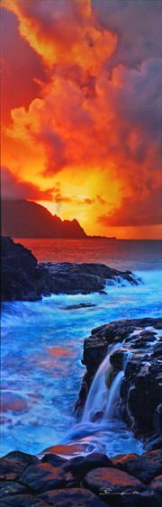Sale 8992 - Lot 529 - Peter Lik (1959 - ) - Sea & Rocks 148 x 47.5 cm (frame: 194 x 95 x 5 cm)