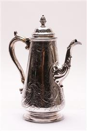 Sale 9027 - Lot 51 - Georgian Old Sheffield Plated Coffee Pot, Ornate Decoration and Engraved Armorial (Wt 722g) (H:30cm)