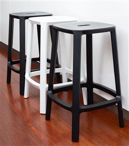 Sale 9150H - Lot 27 - A set of six monochrome Cadrea bar stools by Simone Viola, Height 65.5cm. RRP$1440