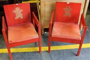 Sale 8050B - Lot 9 - Pair of Charles Prince of Wales Investiture Chairs, c1969 designed by Earl of Snowden, Carl Toms & John Pound, shaped plywood painte...