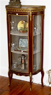 Sale 8088A - Lot 40 - An antique French single door vitrine in cherry wood with a marble top and gilt metal gallery
