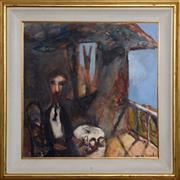 Sale 8098A - Lot 93 - Garry Shead- D.H.Lawrence series, oil on board, 57x57cm, signed lower right.
