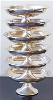Sale 8279A - Lot 87 - A set of six silver plate footed serving bowls, diameter 24cm